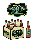An illustration for craft beer including a 6 pack, beer bottles, and beer label. Vector EPS 10 available.
