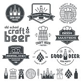 Craft beer brewery emblems, labels and design elements. Black print on white background