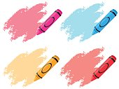 Crayons in four colors illustration
