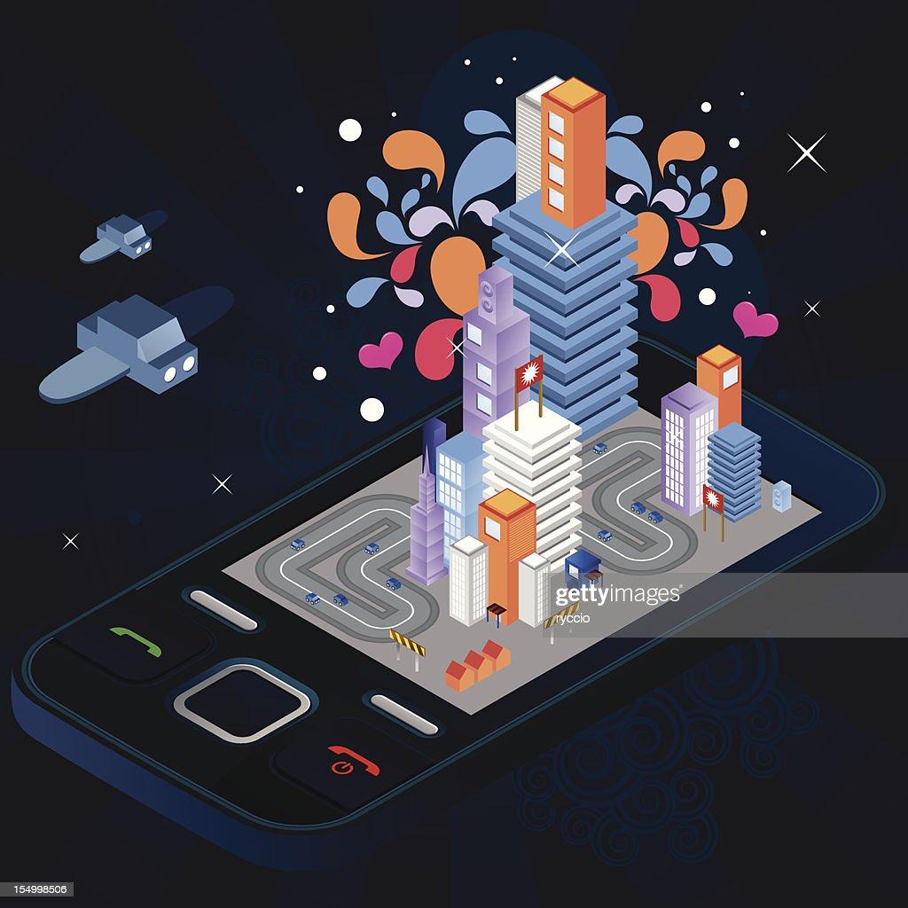 Crazy colors next generation phone city : Vector Art