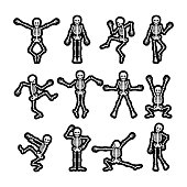 Crazy dancing skeletons stickers black and white vector set