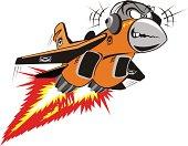 Vector cartoon jet-fighter flying listen music. Available EPS-8, AI-10, CDR-9, SVG vector formats.