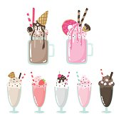 Set of non-alcoholic beverages. Sweet, chocolate, strawberry drinks