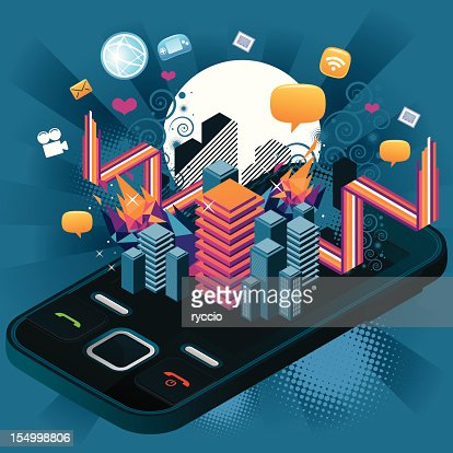 Crazy Telephone with graphics : Vector Art