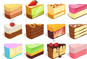 Cream cake slices pieces. Vector illustrations set in cartoon style. Cream dessert slice, sweet snack pie for birthday