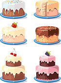 Cream cake tasty cakes vector set in cartoon style. Birthday cake with chocolate and fruits illustration