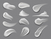Cream smears. Realistic white cosmetic gel, creamy toothpaste blobs on transparent background. Vector skincare lotion set