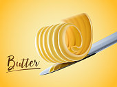 Creamy butter element, curl butter on knife in 3d illustration
