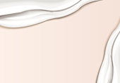 Creamy texture template, smooth cream texture smear on light pink background in 3d illustration