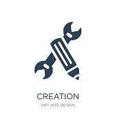 creation icon vector on white background, creation trendy filled icons from Art and design collection
