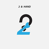 Creative 2- Number icon abstract and hands icon design vector template.Business offer,partnership,hope,support or help concept.Vector illustration