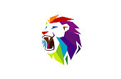 Creative Abstract Colorful Lion Head symbol Design Illustration