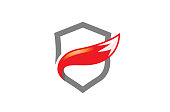 Creative Abstract Fox Tail Shield Protection Security icon,