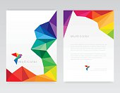 Creative abstract geometric multicolored letterhead template mockups with bird design element