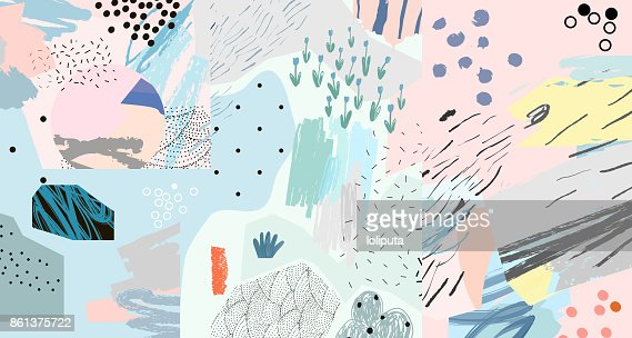 Creative art header with different shapes and textures. : Arte vetorial