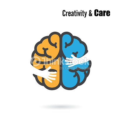 Creative Brain Icon Design With Small Hand Vector Art