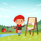 Creative childrens. Little artist making pictures in the open air. Child painter with brush and palette, vector illustration