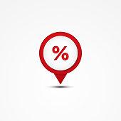 Creative combination percent mathematics symbol and map pointer. Unique vector combination. Vector illustration EPS.8 EPS.10