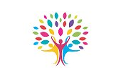 Creative Creative Colorful People Tree Symbol Design Illustration