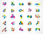 Creative, digital abstract colorful icons, elements and symbols