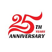 Creative emblem 25-th years anniversary. Twenty five template badge design element.