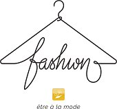 Creative fashion icon design. Vector sign with lettering and hanger symbol. icontype calligraphy