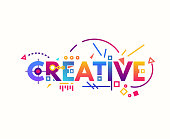 Creative text banner concept. Thin and thick lines illustration. Circles and squares with gradient. Geometric text and letters, abstract shapes. Linear modern, trendy vector banner.