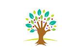 Creative Green Hand Tree icon,
