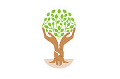 Creative Green Hand Tree icon,