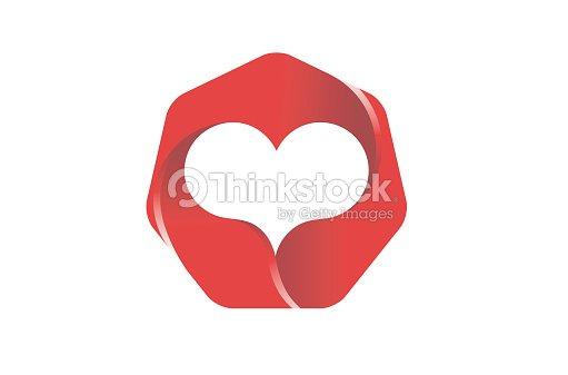 Creative Hexagon Ruby Gem Heart Shape Symbol Design Vector Art
