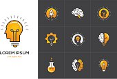 Icons set with brain, light bulb, human head. Creative idea, mind, nonstandard thinking symbols isolated on black background