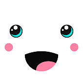 Creative kawaii cute vector singing face isolated on white.