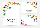 Creative kids design collection. Vector cards with colorful stars,  decoration elements. Vertical banners with corner vignette
