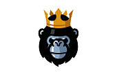 Creative King Gorilla Head symbol Design Illustration
