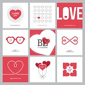 Creative design concepts set with heart shapes for Valentine's day, Mother's day, Women's day greeting cards or love confession