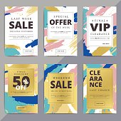 Creative luxury abstract social media web banners for cell phone or newsletter ad. Email promotion or sale background for online shop, store. Promotional offer flyer layout. Vector template design.