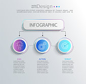 Creative modern infographic with business timeline data visualization.Diagram with 3 steps,options,parts and processes.Template for presentation,workflow layout,banner,web design.Vector illustration.