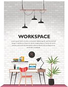 Creative office interior in loft space with white vintage brick wall. Modern cozy workspace with wooden table, laptop, desk lamp, book shelf, folders, plants, clock etc. Vector illustration.
