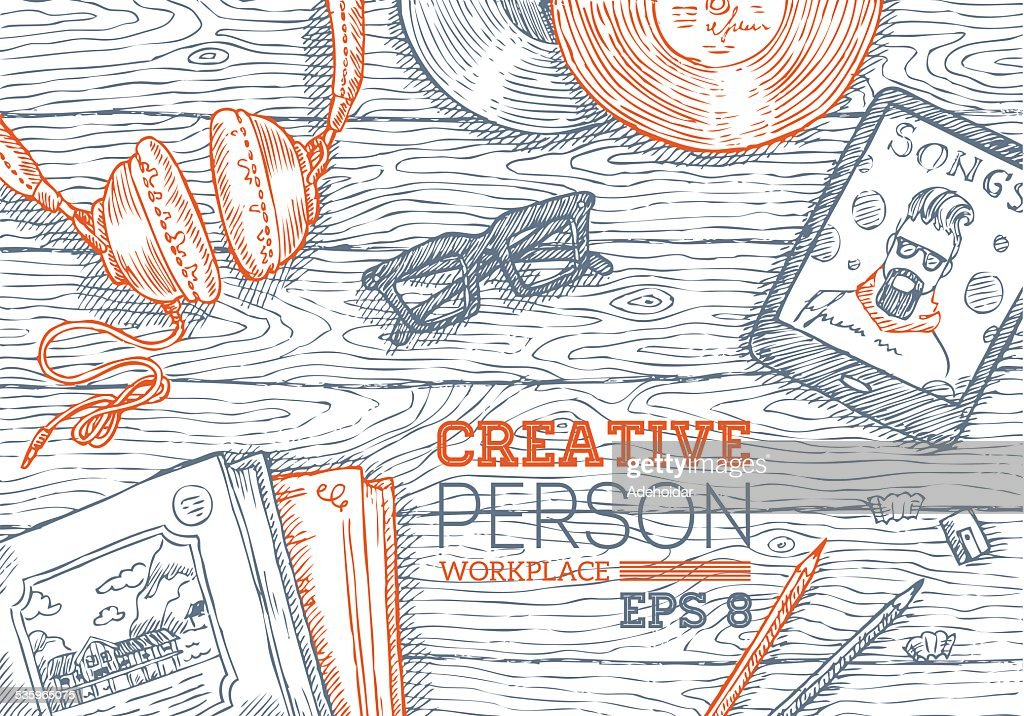 Creative Person Workplace : Vector Art