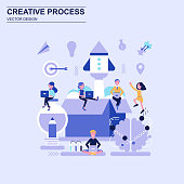 Creative process flat design concept blue style with decorated small people character. Conceptual vector illustration for web design, marketing, graphic design.