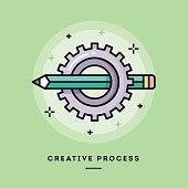 Creative process, flat design thin line banner, usage for e-mail newsletters, web banners, headers, blog posts, print and more