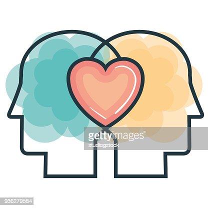 creative profile and brain : stock vector