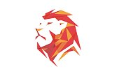 Creative Red Abstract Lion Head Design Symbol Illustration