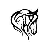 Creative silhouette illustration tribal vector head of horse design concept. Simple animal wildlife. Vector illustration EPS.8 EPS.10