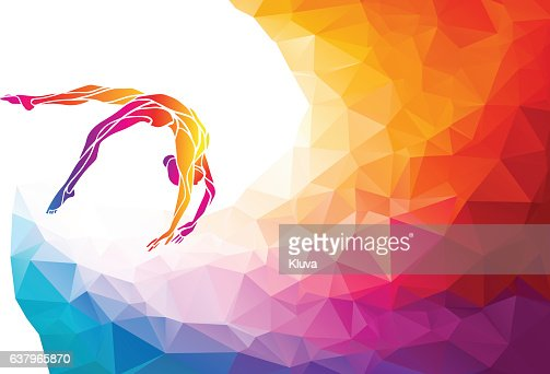 Creative silhouette of gymnastic girl. Art gymnastics vector : stock vector