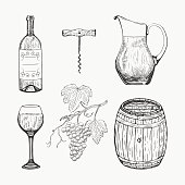 Creative sketch of wine elements. Vector illustration. Wine elements used for logo design, advertising wine, beverage in restaurant or bar menu.