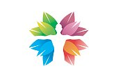 Creative Skincare Body Colorful Leaves Symbol Design Illustration