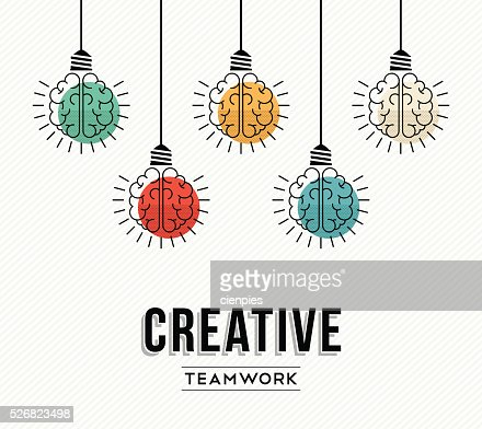 Creative teamwork concept design with human brains : Vector Art