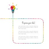 Abstract and creative text box with colorful low poly lightbulb and dotted line as idea concept