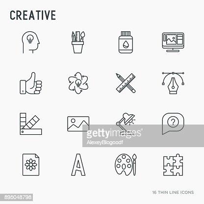 Creative thin line icons set: idea, puzzle, color palette, brushes, creative vision, development design. Vector illustration. : stock vector